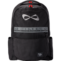 "Nfinity® ""Weekender"" Black Backpack (White Logo, Red Zipper Pulls)"