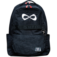 "Nfinity® ""Weekender"" Sparkle Black Backpack (White Logo, Red Zipper Pulls)"
